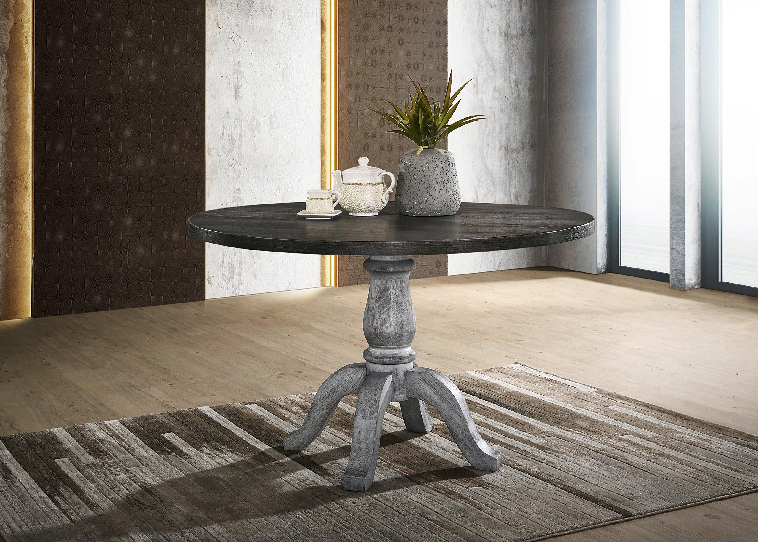 Roundhill Furniture T404 Iris Round Pedestal Wood Dining Table, Weathered White