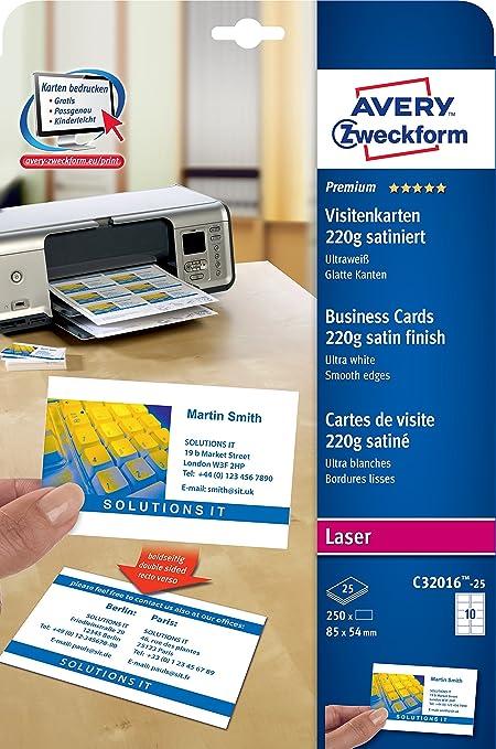 Avery Zweckform C32016 25 Premium Visitenkarten 250 Stück 85 X 54 Mm Beidseitig Bedruckbar Satiniert 25 Blatt