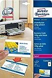 AVERY - Zweckform Quick & Clean cartes de visite, satinées ultra blanc, poinconné, 220 g/qm dimensions: (L)84 x (H)54 mm pour imprimantes jet d'encre, laser (et c