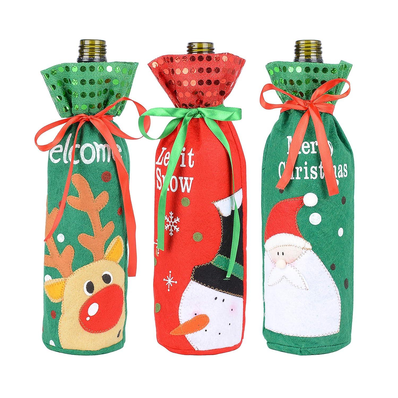 BUONDAC 13 * 30cm 3 pz Borse Porta Vino Natale Portabottiglie Sacchetti con Coulisse Organza Contenitore Olio Decorazioni Natalizie Tavola Festa Casa