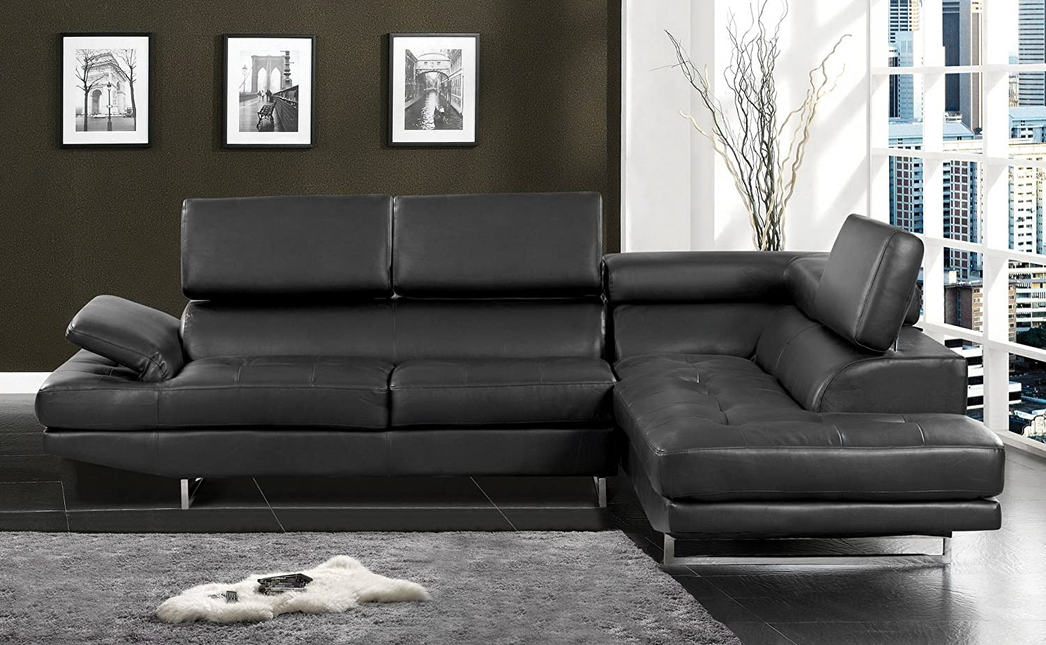 Amazon.com: Furniture Of America Keen Bonded Leather Sectional Sofa With  Adjustable Headrests, Black: Kitchen U0026 Dining