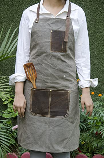 Priti Waxed Canvas Leather Apron Kitchen Apron Work Aprons Barbecue Apron Chef Apron With 2 Pockets Holder Light Brown Amazon In Home Kitchen