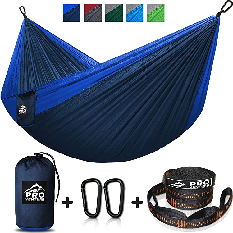 Double Camping Hammock, FREE Premium Straps & Carabiners - Lightweight and Compact Parachute Nylon