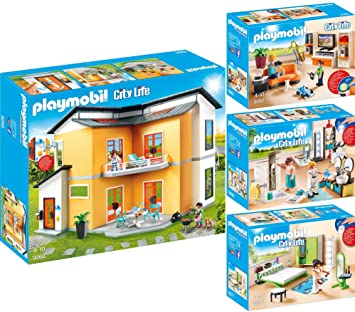 PLAYMOBIL® City Life 4er Set 9266 9267 9268 9271 Modernes Wohnhaus + ...