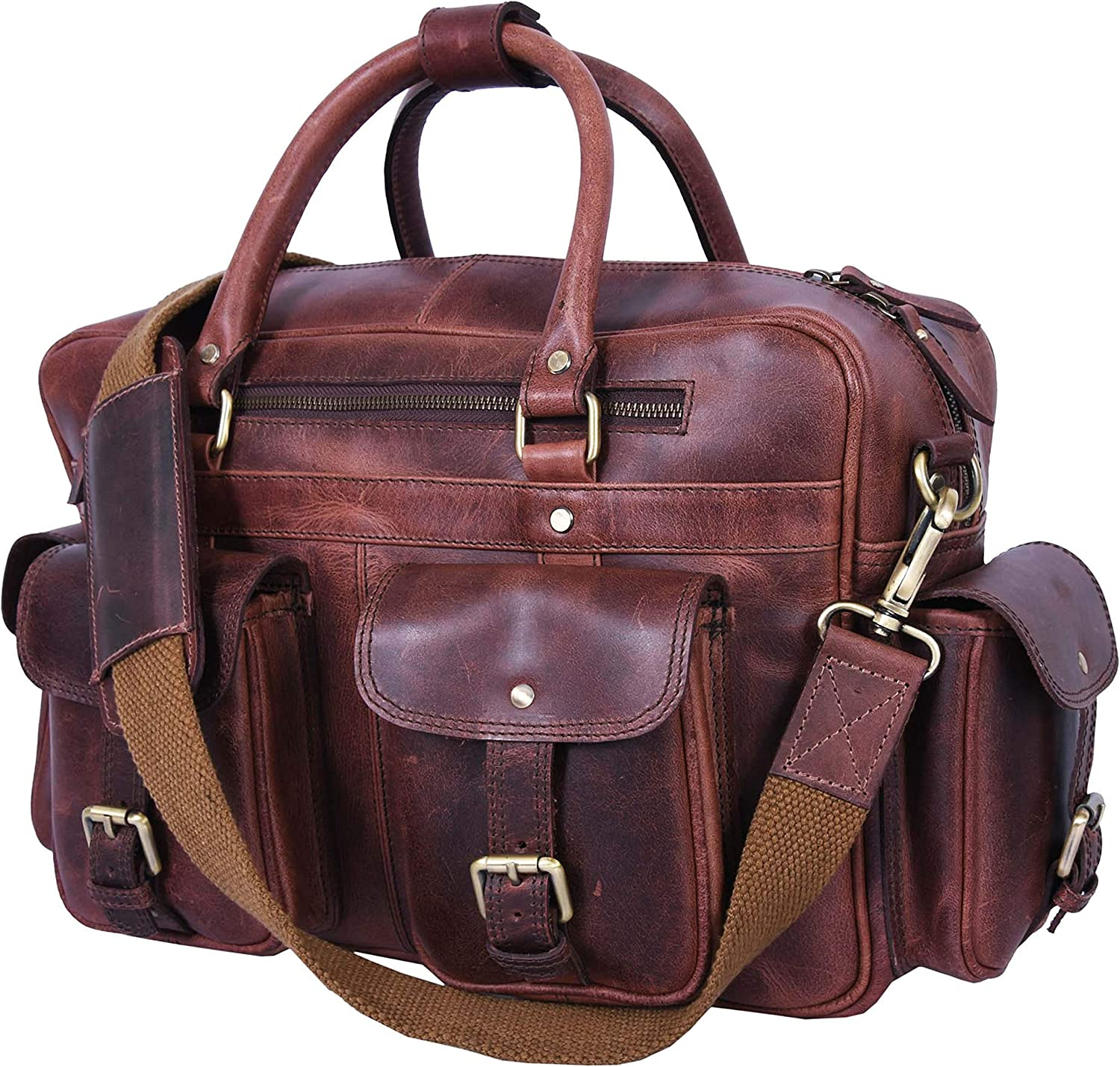 Addey Supply Company Leather Messenger Bag for Laptop 15.5 Inch Brown