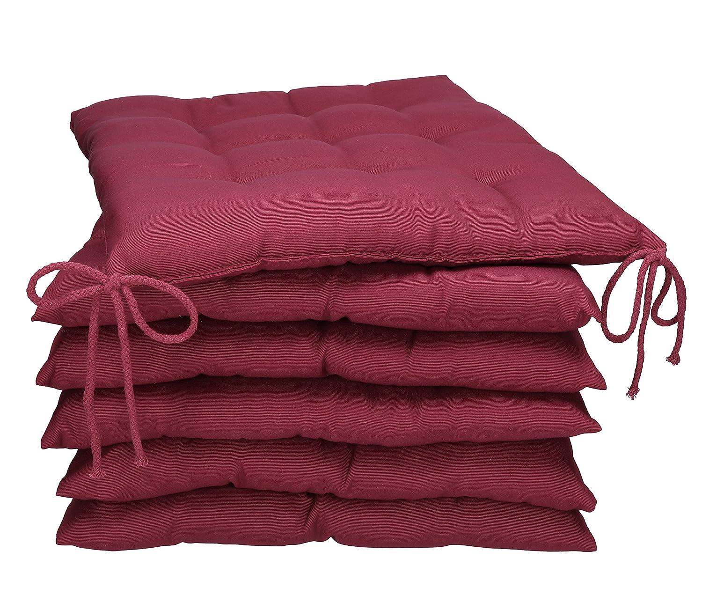 BETZ Set di 6 Cuscini per sedie Cuscino per Seduta con Lacci Holiday 40x40 cm in Diversi Colori Colore Petrol