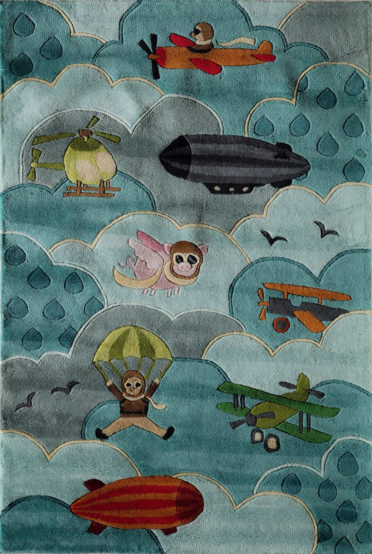 Momeni Rugs LMOJULMJ10SKY4060 Lil' Mo Whimsy Collection, Kids Themed Hand Carved & Tufted Area Rug, 4' x 6', Sky Blue