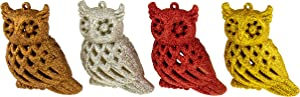 """Clever Creations Shiny Red, Silver, Brown and Gold Glittery Owl Christmas Tree Ornaments 
