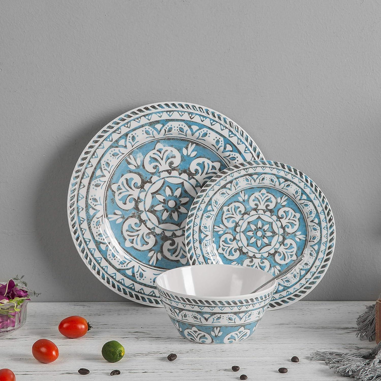 12 Piece Melamine Dinnerware set - Melamine Dishes Set, Service For 4, Dishwasher Safe,Indoor/Outdoor Blue