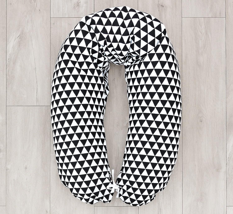 LOOLAY/® Bezug f/ür Stillkissen XXL Baby Lagerungskissen Seitenschl/äferkissen 170cm MUSTER Dreiecke schwarz