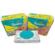 Pampers Swaddlers Diapers, Newborn, 20 Count Pack of 2 (Total of 40 Pampers) - Pampers Sensitive Wipes Travel Pack 56 Count.