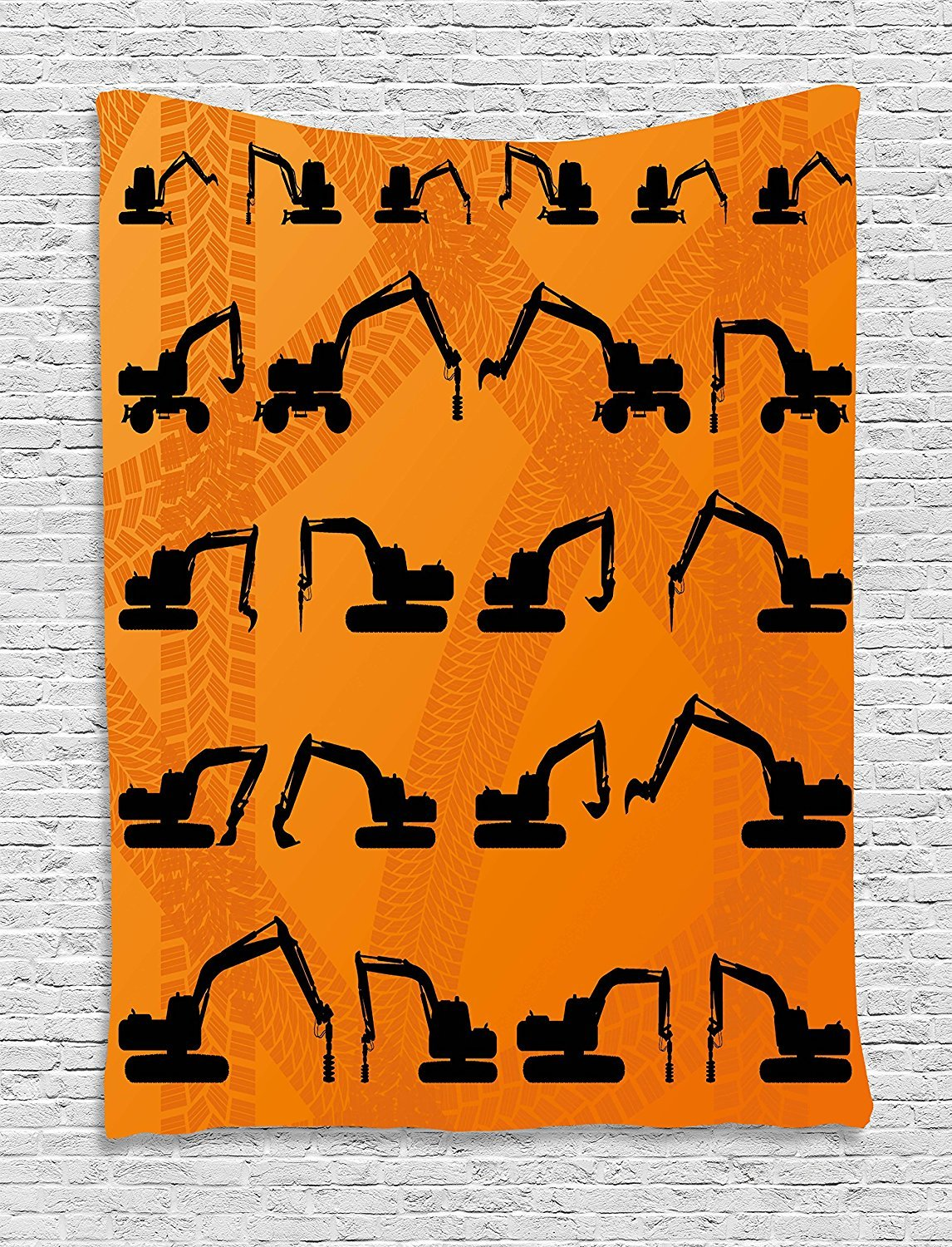 Construction Tapestry, Excavator Black Silhouettes Tire Traces Track Machinery Industry Technology, Wall Hanging for Bedroom Living Room Dorm, 60 W X 80 L Inches, Orange Black