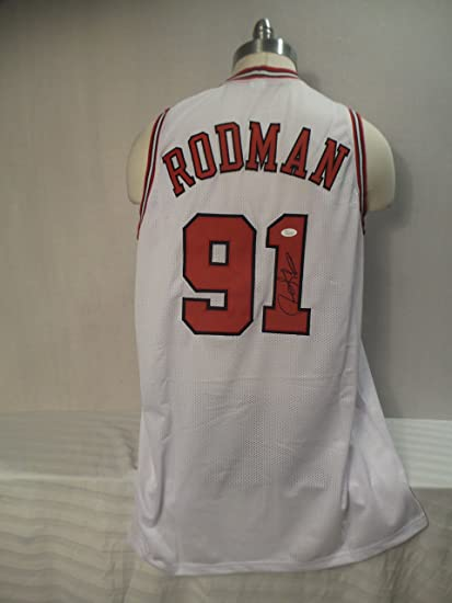 54e749224 Dennis Rodman Signed Chicago Bulls White Autographed Custom Men XL Jersey  JSA at Amazon s Sports Collectibles Store