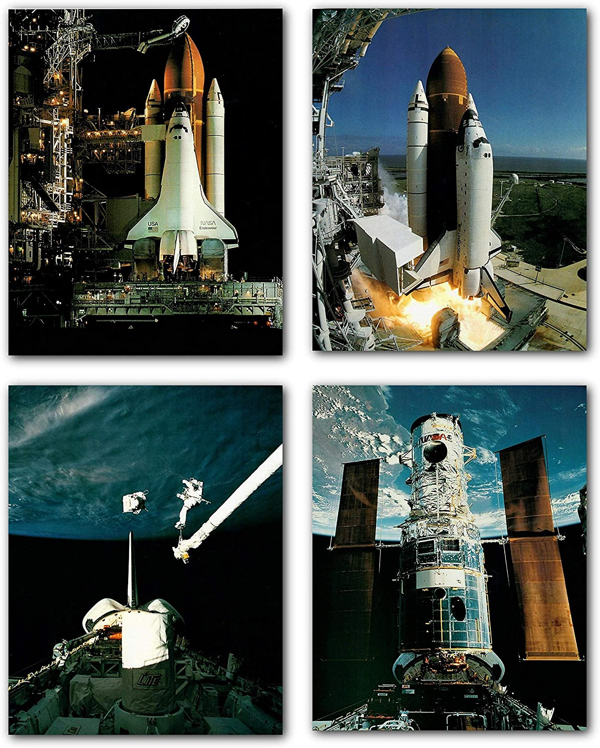 NASA Columbia Launch, Endeavour Landing at Edwards Airforce Base and Hubble Rescue Onboard Scene Wall Décor Four Set Art Print Posters 8x10