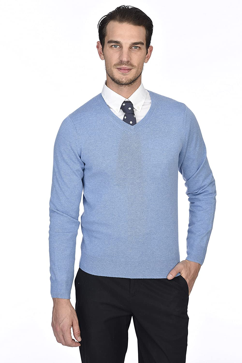 State Cashmere Men's 100% Pure Cashmere Long Sleeve Pullover V Neck Sweater ST3611