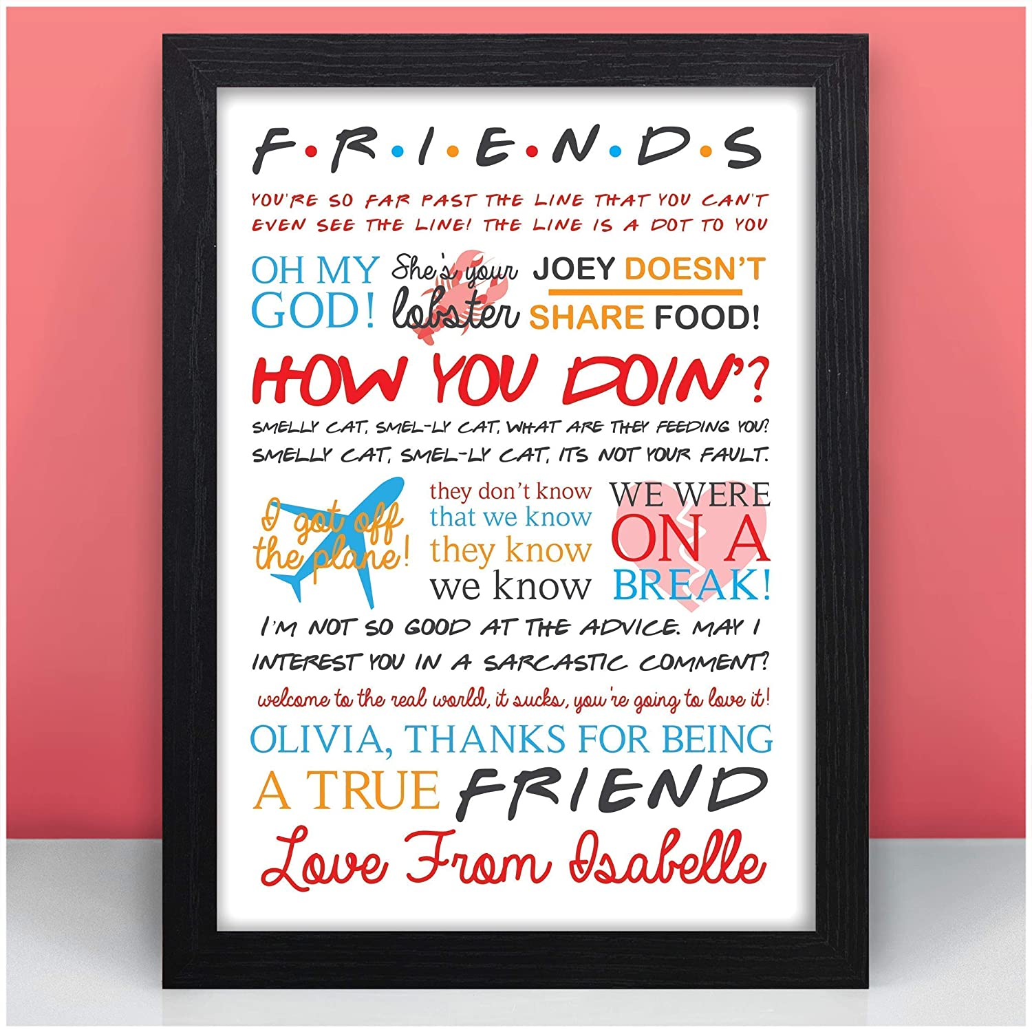 PERSONALISED Friends TV Show Quotes Birthday Gift Present Sign Home Wall Art