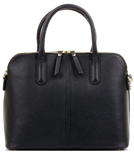 565aa17cfef Primo Sacchi® Italian Textured Black Leather Hand Made Bowling Style Tote  Grab Bag or Shoulder