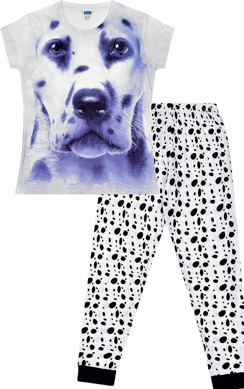 Dalmation - Pijama largo para niñas con estampado de huellas de perro 3D, 7 a 13 años