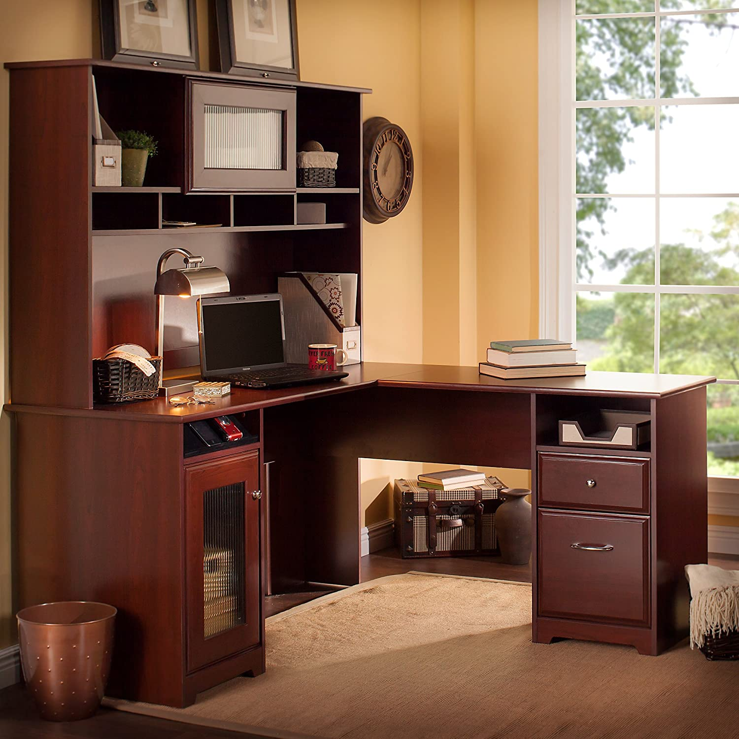 cabot l shaped desk with hutch in harvest cherry by bush furniture