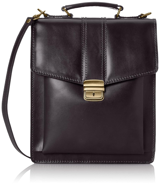 Fashion Bag Chicca Tous les hommes avec une véritable 27x32x10cm de sac à main en cuir Chicca Borse Marron (Marrone) 32 cm 7012-marrone