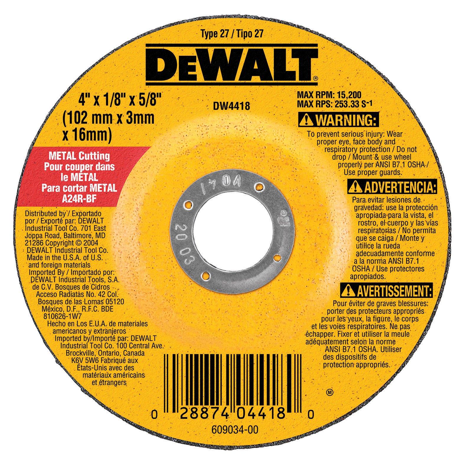 DEWALT DW4418 4-Inch by 1/4-Inch by 5/8-Inch General Purpose Metal Cutting Wheel