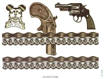 Tatouage Temporaire Guepiere Et Pistolet Ou Jarretiere Et Pistolet