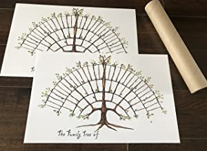 Simple Family Tree Chart, Farmhouse Decor Friendly, Un Framed, 2 Fill in Prints for Ancestry and Genealogy