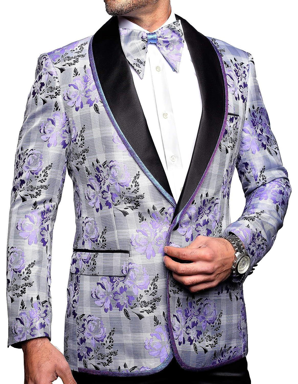 Mens Luxury Lavender Plaid Floral Dress Blazer Suit Jacket
