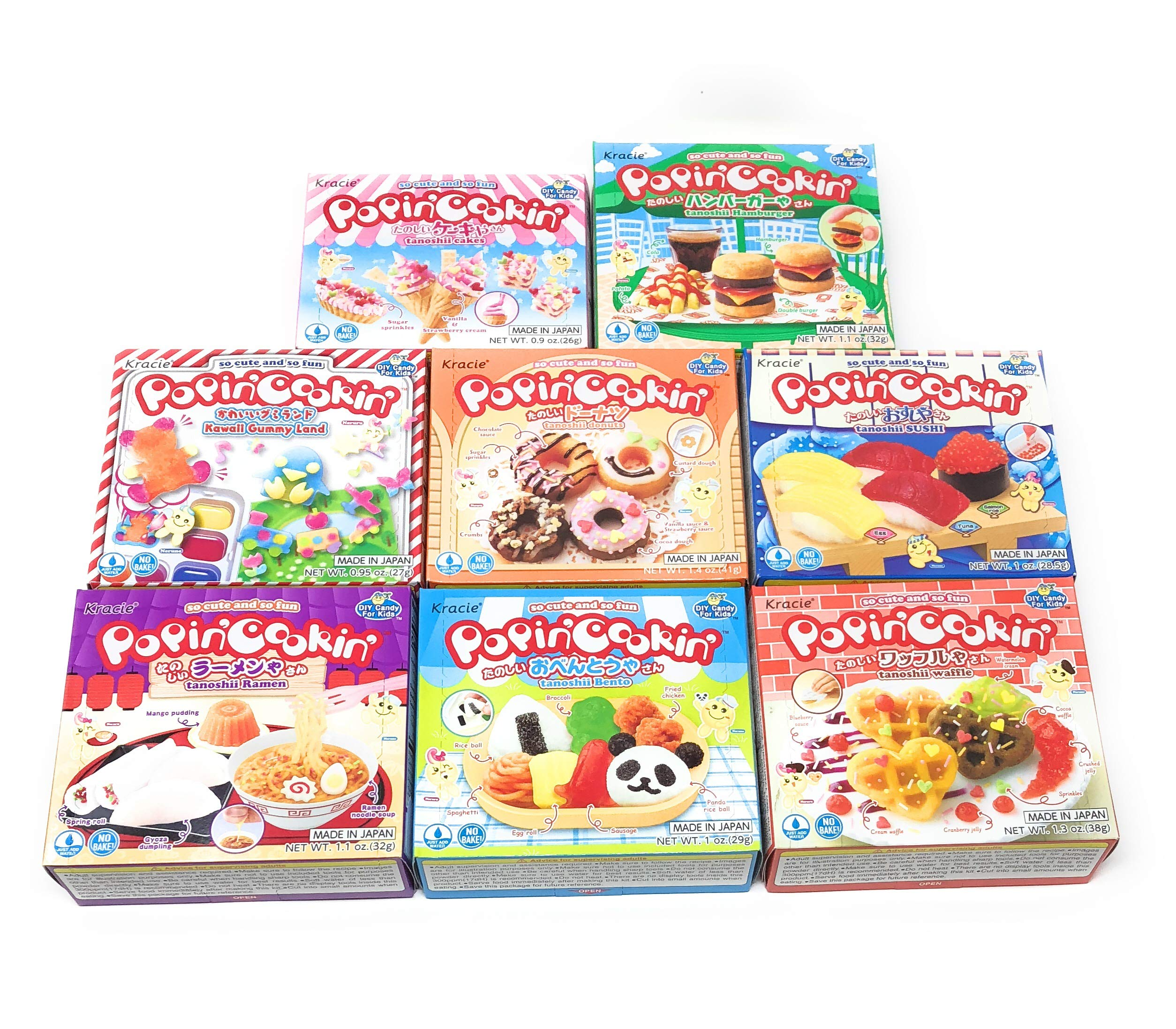 Popin' Cookin Diy Candy Kit (8 Pack Varieties) - Tanoshii Bento, Ramen and Waffle, Cakes, Sushi and Donuts, Hamburger, and Kawaii Gummy Land