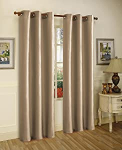 """Gorgeous Home (#32) 1 Panel Solid Plain Thermal Foam Lined Blackout Heavy Thick Window Curtain Drapes Silver Grommets (Taupe TAN, 63"""" Length)"""