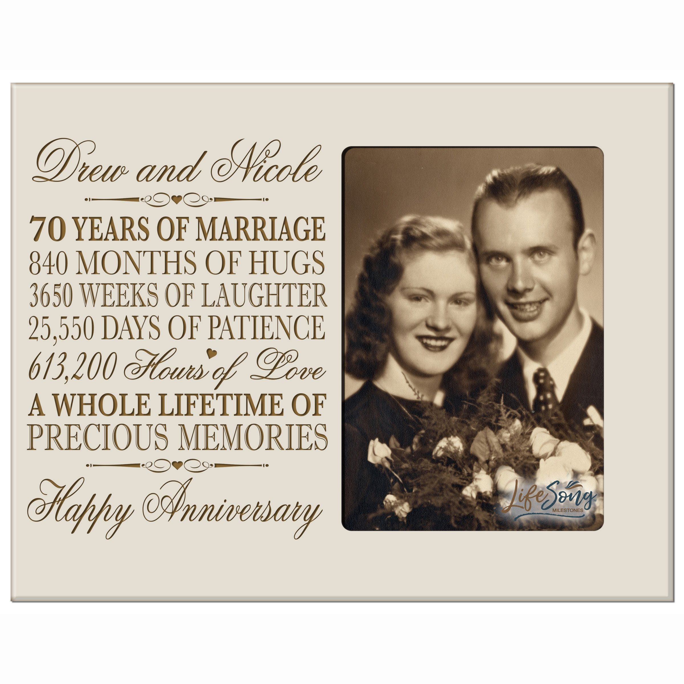 LifeSong Milestones Personalized 70th Year Wedding for Couple Custom Engraved 70th Wedding Frame Holds 1 4x6 Photo 8'' H X 10'' W (Ivory)