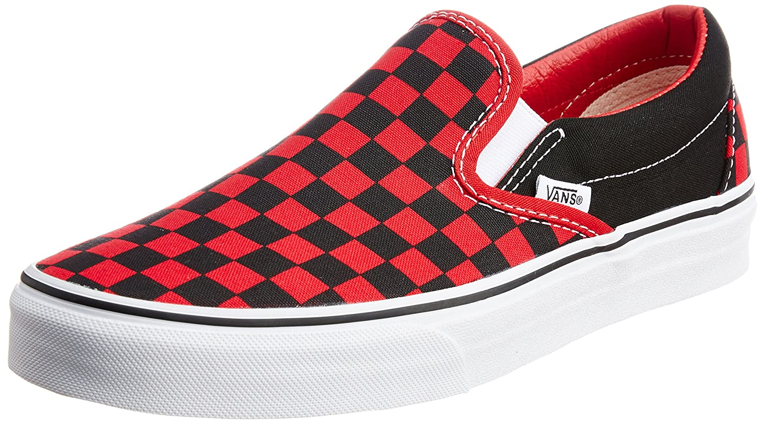 60cff72f80 Vans Men s Classic Slip-on Checkerboard Red and Black Canvas Boat Shoes - 8  UK  Buy Online at Low Prices in India - Amazon.in