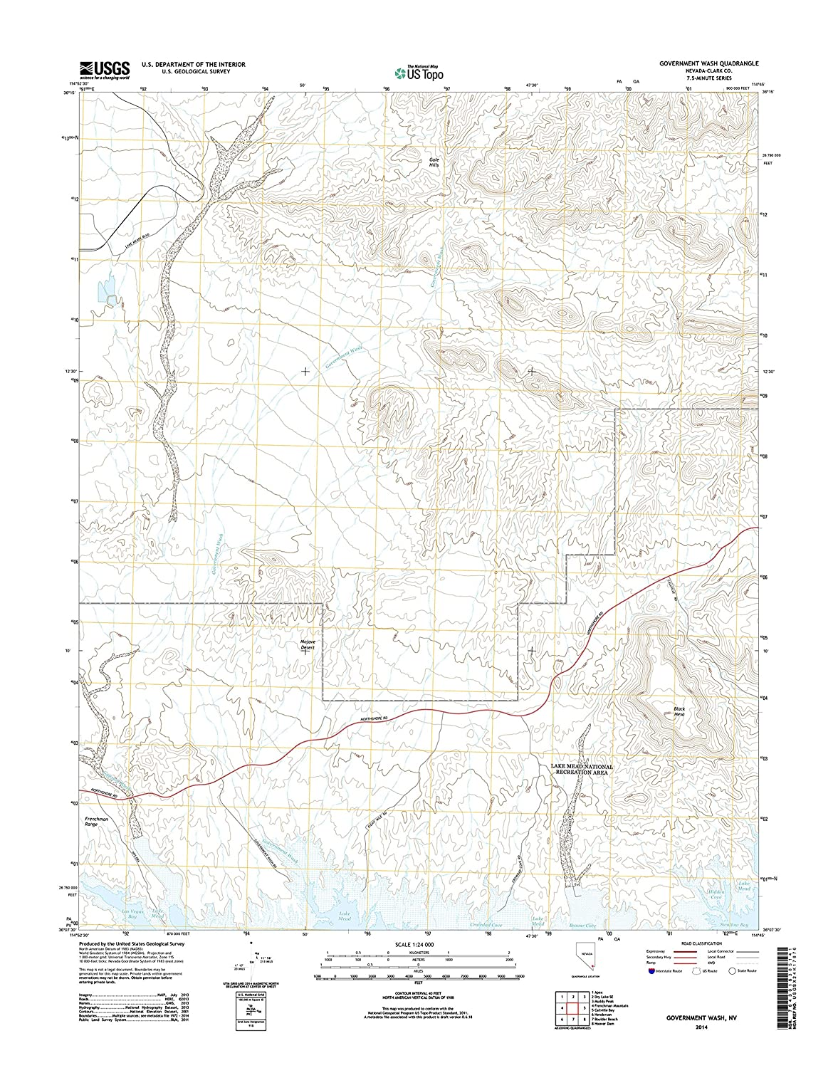 Amazon.com: Topographic Map Poster - Government WASH, NV TNM ... on