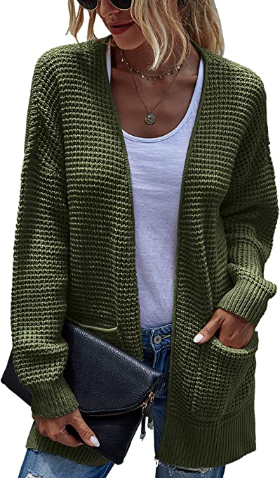CinShein Women's Open Front Cardigan Long Sleeve Knitwear Pure Color Casual Sweater Coat with Pocket