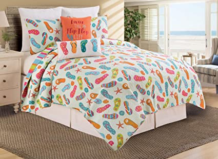 fa3f47f89875 C F Home Flip Flop Life Beach Twin Reversible Cotton Quilt Set Twin 2 Piece  Set