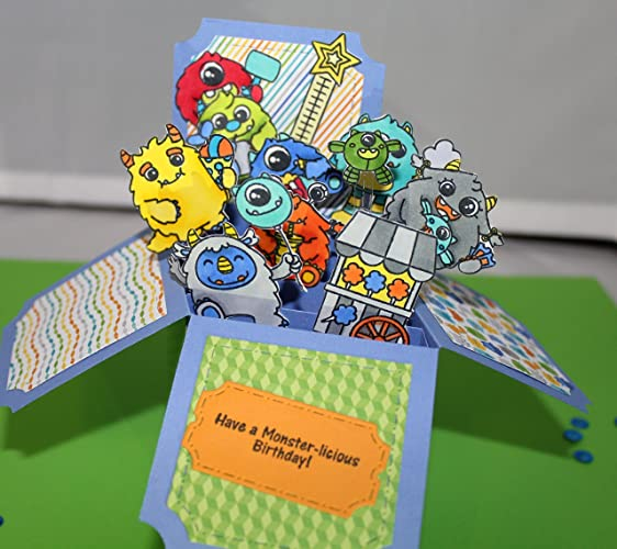 Amazon Com Monsters Happy Birthday Box Card Handmade
