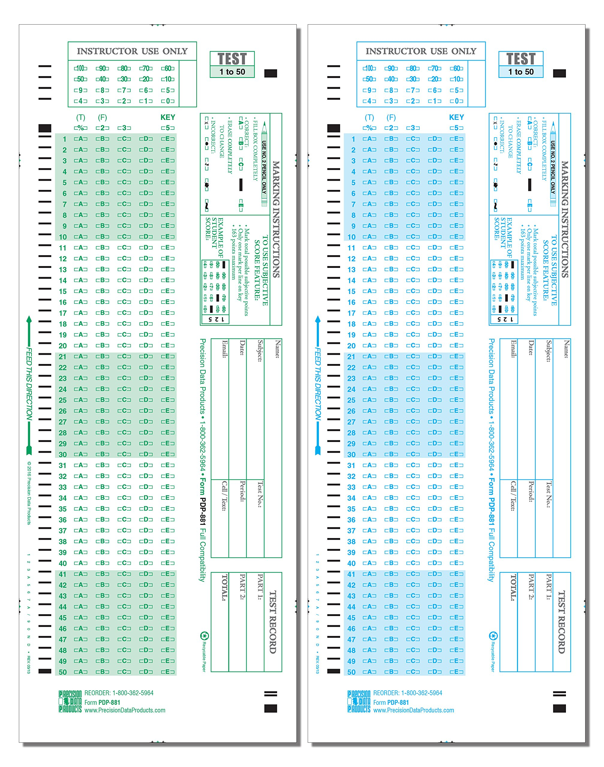 PDP-1881, (500/pkg) 881-E Compatible Test Forms by Precision Data Products