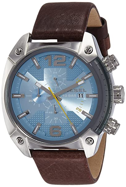 Amazon.com: Diesel Mens DZ4340 Overflow Stainless Steel Brown Leather Watch: Diesel: Watches