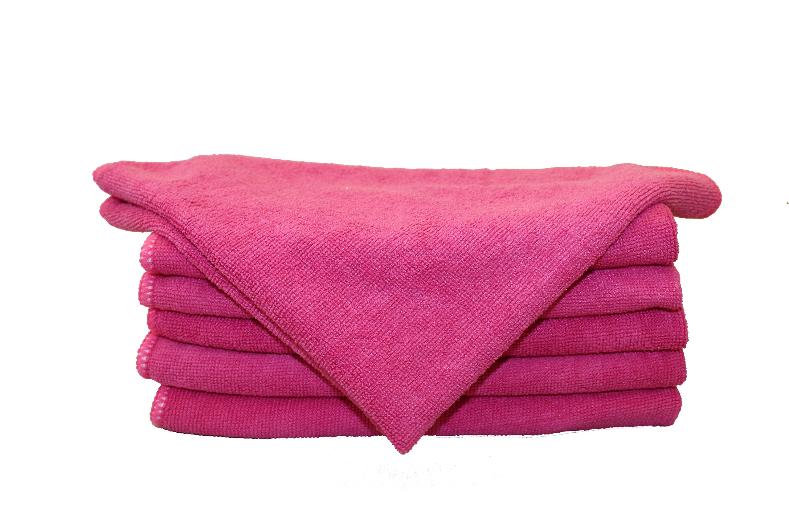 Free Shipping 192pcs Mr.towels Imports Warp Knit Microfiber Cleaning Towels 16'' X 16'' - Hot Pink