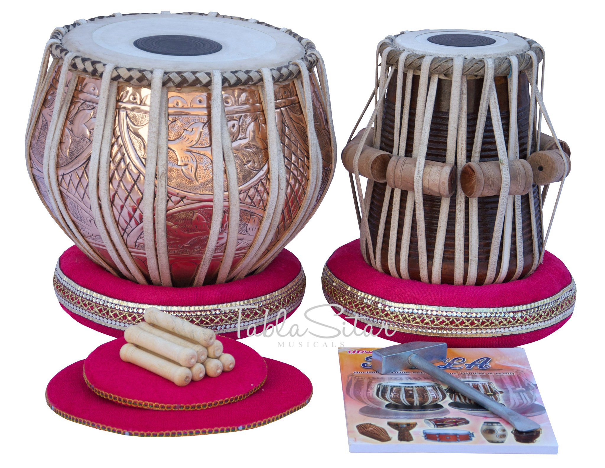Tabla Drum Set by Maharaja Musicals, Professional, 3.5 Kg Copper Bayan - Designer Carving, Sheesham Tabla Dayan, Padded Bag, Book, Hammer, Cushions, Cover, Tabla Musical Instrument (PDI-CJH) by Maharaja Musicals