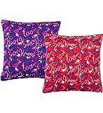 Casa Copenhagen - Casa Basics Set Of 2 Digital Premium Cushion Cover 16 X 16 Inch - Blue & Orange