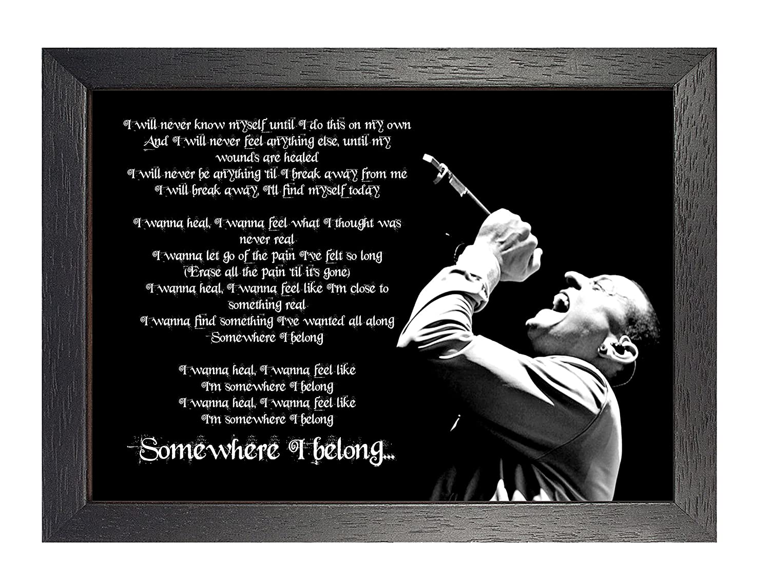 Somewhere I Belong Linkin Park Chester Bennington A4 Poster Framed Great Lyrics Rock Metal Album Cover Design Music Band Best Photo