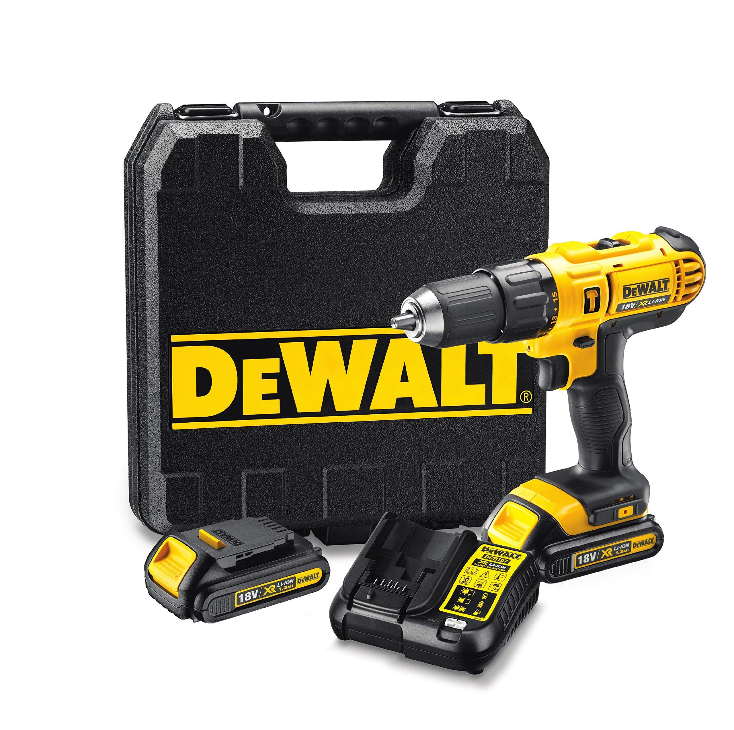 DeWalt DCD776C2-QW Perceuse-visseuse à percussion 18V - Compacte et ergonomique - Idéale endroits exigus - Mandrin : 13 mm - 2 batteries 18V Lithium-ion 1,3 Ah - Couple max : 42 Nm - Capacité de perçage Bois/Métal 25/13 mm - Interrupteur intelligent - Coffret inclus product image
