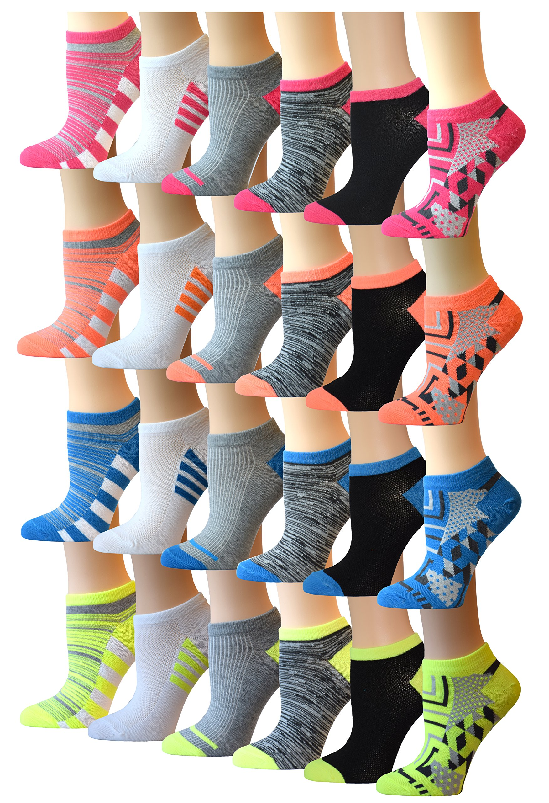 Top Step Women's 24 Pairs Colorful Patterned Low Cut / No Show Socks,  9-11. Fits Shoe Size 4-10, Neon