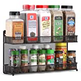 CAXXA 2 Tier Mesh Kitchen Counter-top or Wall Mount Spice Rack Jars Storage Organizer, Bronze