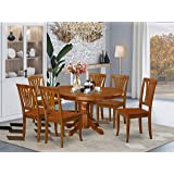 East West Furniture dining table set 6 Wonderful wood dining chairs - A Beautiful modern dining table- Saddle Brown Color Woo