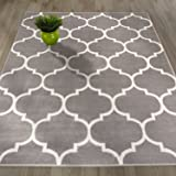 "Sweethome King Collection Grey Moroccan Trellis Design (7'10"" X 9'10"") Area Rug"