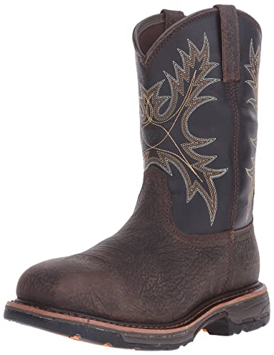 Men's Ariat Workhog Wide Square Toe Cowboy Boot, Size: 9 D, Brown Croco Print/Dark Chocolate Leather