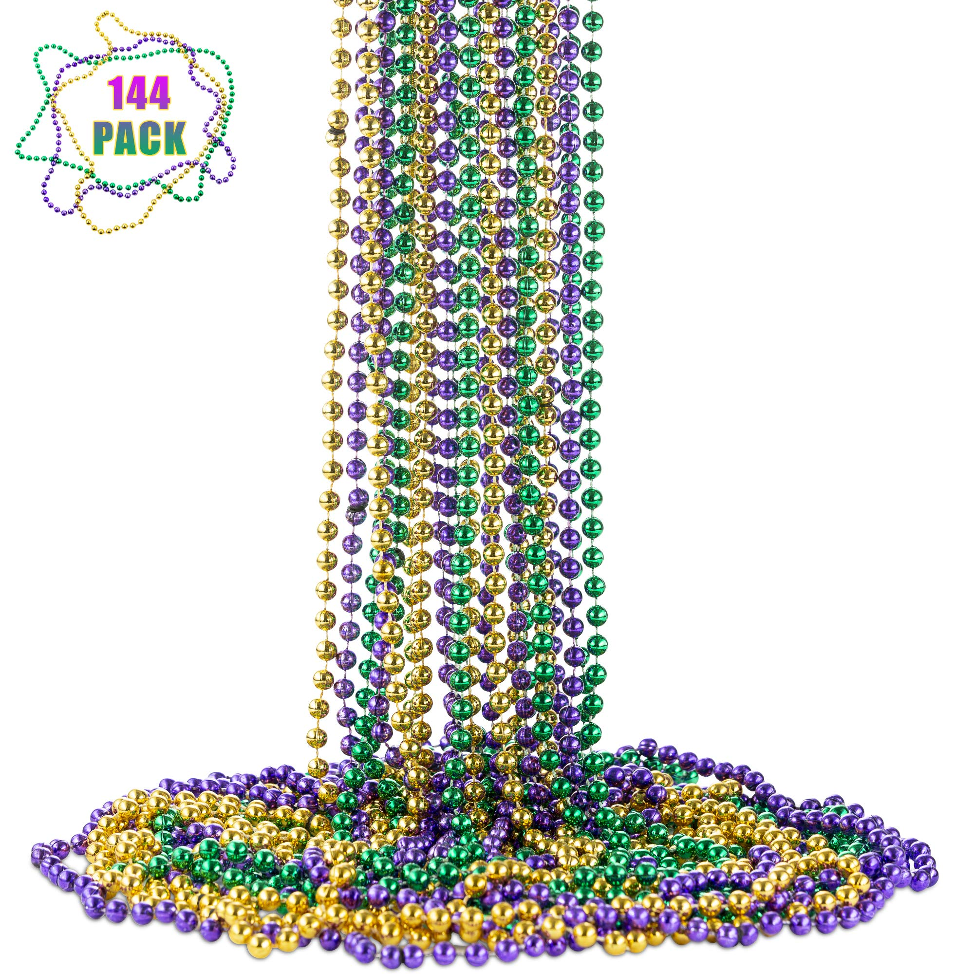 FAVONIR Mardi Gras Assorted Beaded Necklace 144 Pack of Metallic Round Multi Colors Costume Necklace Accessory 33 Inch 7 mm- for Events and Party Favor Novelty