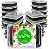 [20 Pack] EazyPrep Meal Prep Containers Single 1Compartment with Lids, Food Storage Bento Box | BPA Free | Stackable | Reusable Lunch Boxes, Microwave/Dishwasher/Freezer Safe,Portion Control (28 oz)